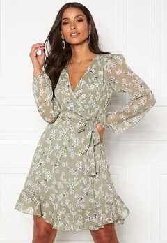 BUBBLEROOM Theia wrap dress Dusty green / Floral Bubbleroom.fi