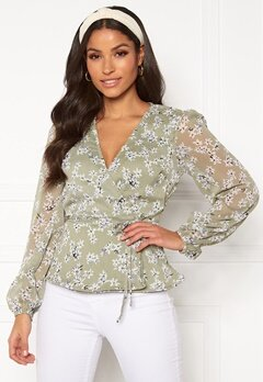 BUBBLEROOM Theia wrap top Dusty green / Floral Bubbleroom.fi