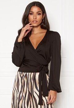 BUBBLEROOM Vilja wrap top Black Bubbleroom.fi