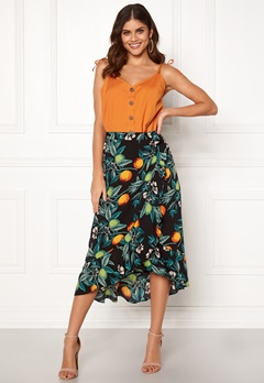 BUBBLEROOM Villima midi skirt Black / Patterned Bubbleroom.fi