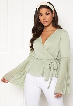 BUBBLEROOM Wenna pleated top Dusty green Bubbleroom.fi