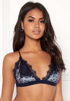 BUBBLEROOM Wilda velvet bra Dark blue Bubbleroom.fi