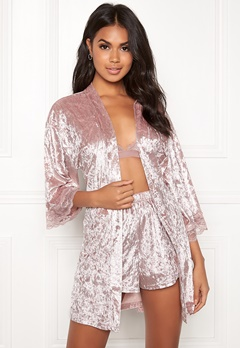 BUBBLEROOM Wilda velvet robe Dusty pink Bubbleroom.fi