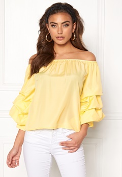 BUBBLEROOM Yazzy off shoulder top Light yellow Bubbleroom.fi