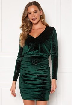 BUBBLEROOM Hillie sparkling velvet dress Green Bubbleroom.fi