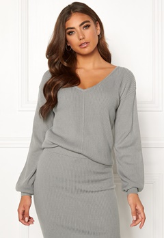 Moa Mattsson X Bubbleroom Wide neck knitted sweater Grey melange Bubbleroom.fi