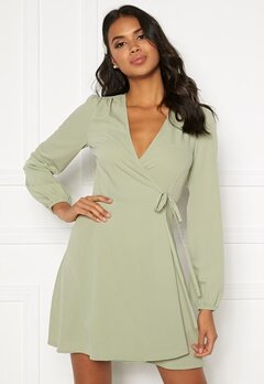 BUBBLEROOM Leila wrap dress Dusty green Bubbleroom.fi