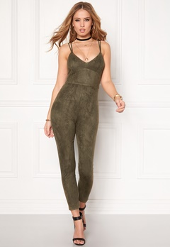 BUBBLEROOM Blair suede jumpsuit Dusty green Bubbleroom.fi