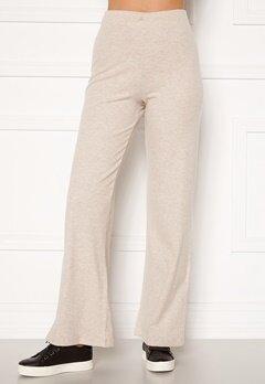 BUBBLEROOM Ilma rib wide trousers Beige melange Bubbleroom.fi