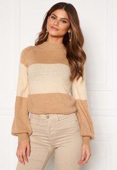 BUBBLEROOM Linette block knitted sweater Light beige Bubbleroom.fi