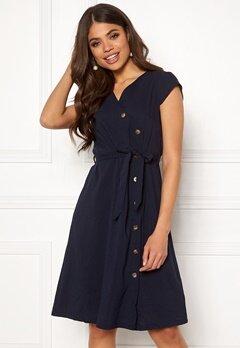 Blue Vanilla Button Through Midi Dress Navy Bubbleroom.fi