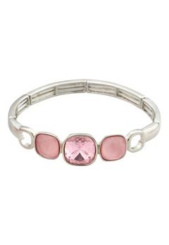 BY JOLIMA Glam Bangle Bracelet Light Rose Silver Bubbleroom.fi