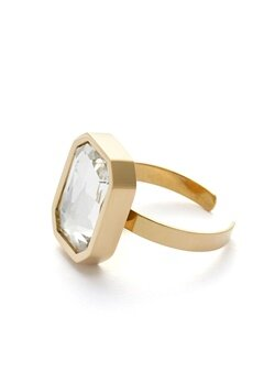 BY JOLIMA Sabina Square Ring Crystal Gold Bubbleroom.fi