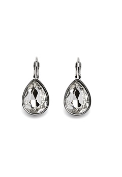 BY JOLIMA Tear Drop Earring Crystal Silver Bubbleroom.fi