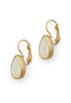 BY JOLIMA Tear Drop Earring Milky White Gold Bubbleroom.fi