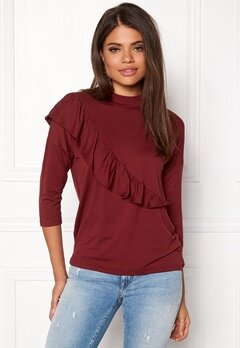 b.young Temma Ruffle Blouse Deep Ruby Bubbleroom.fi
