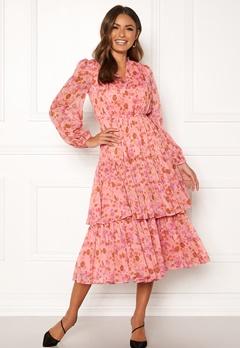 byTiMo Chiffon Layered Dress 876 Pink Garden Bubbleroom.fi