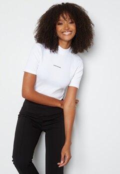 Calvin Klein Jeans Micro Branding Rib Baby Tee YAF Bright White bubbleroom.fi