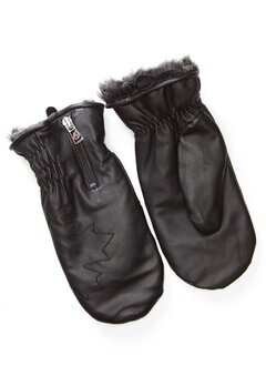 Canada Snow Kläppen Leather Mitts Black Bubbleroom.fi
