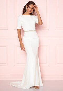 Chi Chi London Demi Diamonte Dress White Bubbleroom.fi