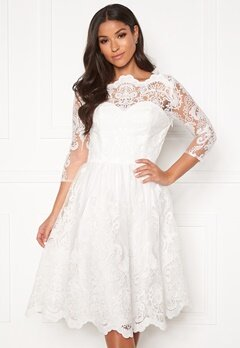 Chi Chi London Floral 3/4 Sleeve Dress White Bubbleroom.fi