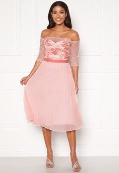 Chi Chi London Selda Bardot Midi Dress Pink Bubbleroom.fi