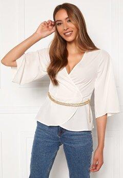 Chiara Forthi Aliona wrap blouse Light beige Bubbleroom.fi