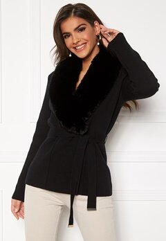 Chiara Forthi Arina heavy knit wrap jacket Black Bubbleroom.fi