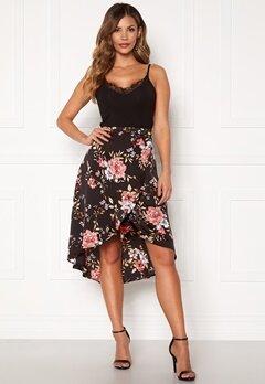 Chiara Forthi Arona wrap skirt Black / Pink / Floral Bubbleroom.fi
