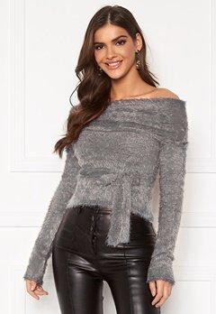 Chiara Forthi Beatricia furry offshoulder sweater Silver grey Bubbleroom.fi