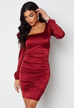Chiara Forthi Cannelita Ruched Dress Dark red bubbleroom.fi