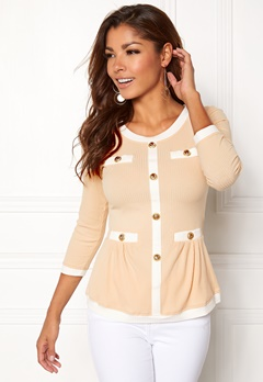 Chiara Forthi Cardi Peplum Top Beige / Natural white / Gold Bubbleroom.fi
