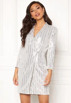 Chiara Forthi Celebrity sequin blazer dress Silver Bubbleroom.fi