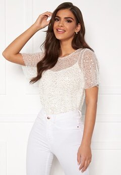 Chiara Forthi Chrystal sequined top Light offwhite Bubbleroom.fi