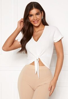 Chiara Forthi Clarice tie flounce top Offwhite Bubbleroom.fi