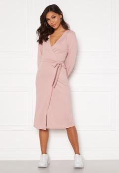 Chiara Forthi Corina rib wrap midi dress Dusty pink Bubbleroom.fi