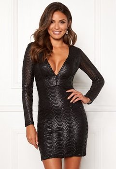 Chiara Forthi Demi deep v-neck sequin dress Black Bubbleroom.fi