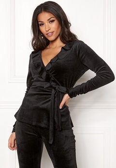 Chiara Forthi Elvira velour wrap top Black Bubbleroom.fi