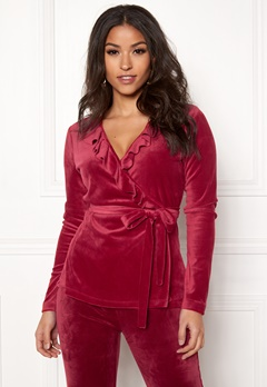 Chiara Forthi Elvira velour wrap top Wine-red Bubbleroom.fi