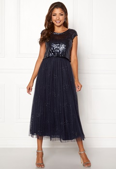 Chiara Forthi Estelle sequin top gown Navy Bubbleroom.fi