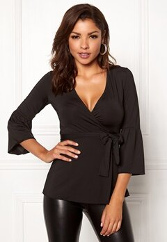 Chiara Forthi Francesca Wrap Top Black Bubbleroom.fi