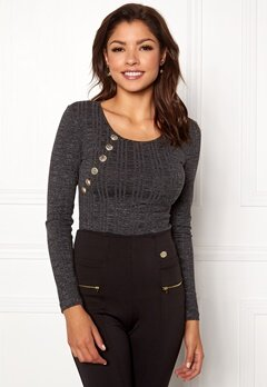 Chiara Forthi Hailey top Dark grey melange Bubbleroom.fi