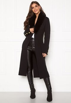 Chiara Forthi Ivy knitted Long Coat Black Bubbleroom.fi