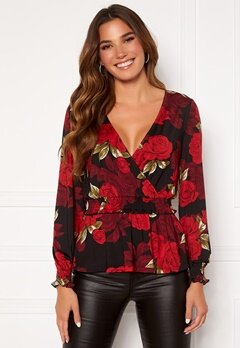 Chiara Forthi Jennica wrap smock top Black / Red / Floral Bubbleroom.fi