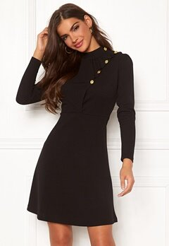 Chiara Forthi Jolanta Frill Buttoned Polo Dress Black Bubbleroom.fi