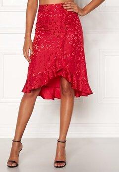 Chiara Forthi Leila Flounce Buttoned Skirt Red Bubbleroom.fi