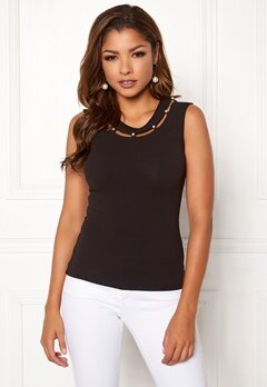 Chiara Forthi Lila pearl neck top Black Bubbleroom.fi