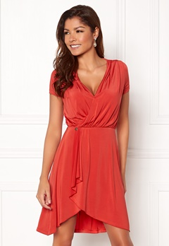 Chiara Forthi Malvina Draped Short Dress Red Bubbleroom.fi
