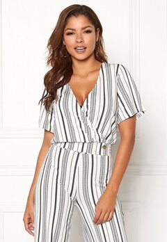 Chiara Forthi Mauritius wrap top Striped / White / Blue Bubbleroom.fi