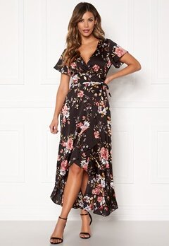 Chiara Forthi Monica wrap flounce dress Black / Pink / Floral Bubbleroom.fi